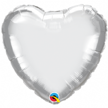 "Silver Chrome Foil Balloon (18"" Heart) 1pc"